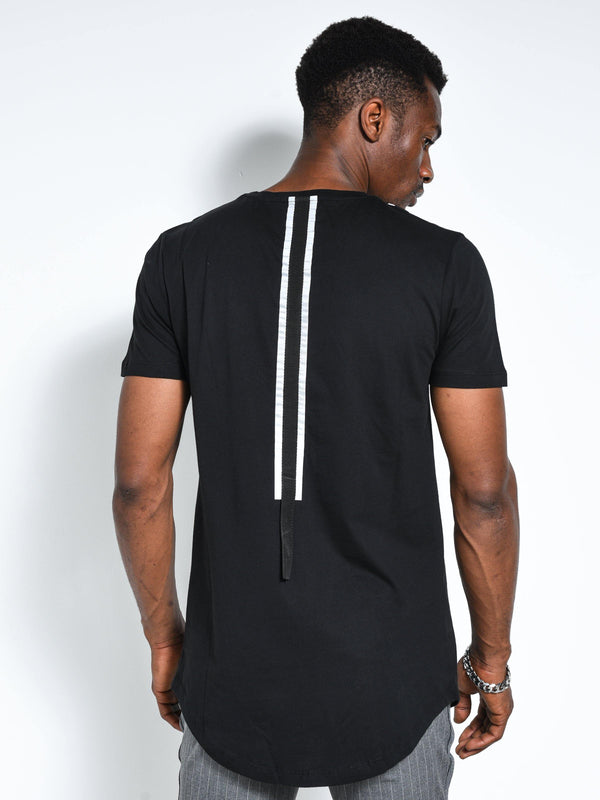 Back and Forth Strap Detail Black T-shirt 4652