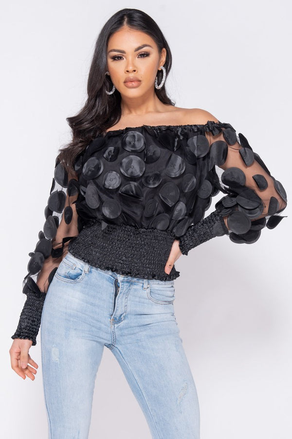 BLACK BARDOT SHEER 3D FLORAL SHIRRING DETAIL CROP TOP