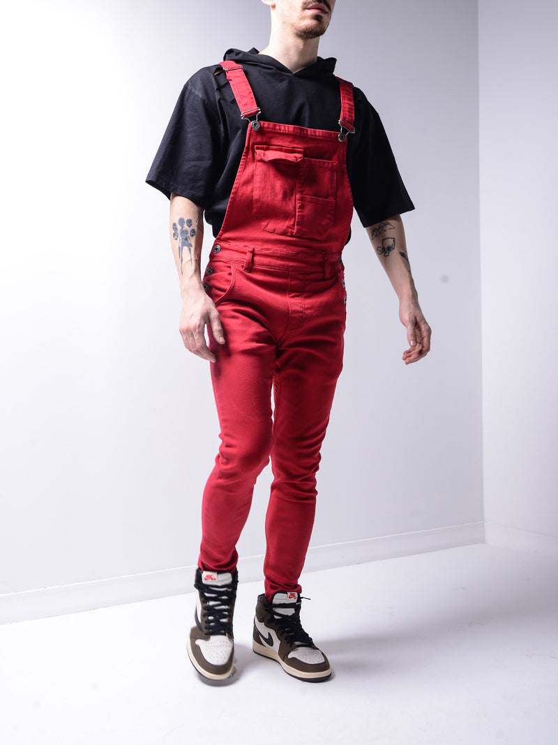 Red Denim Overall 4455