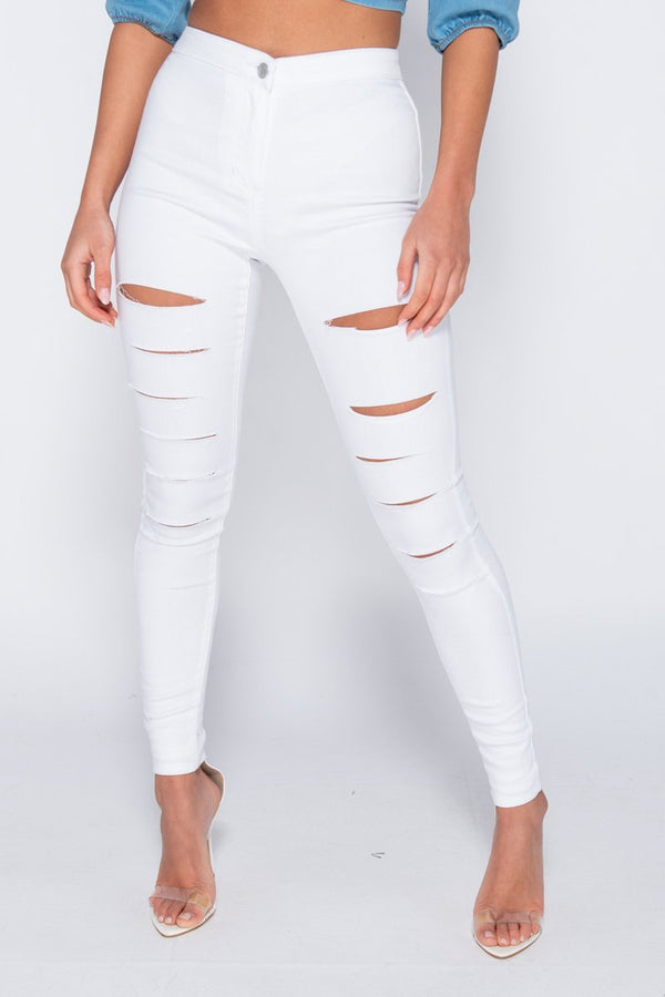 WHITE HIGH WAISTED MULTI SLASH