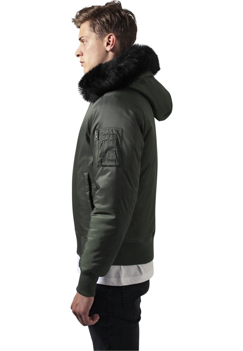 Black Plush Hooded Basic Bomber Jacket