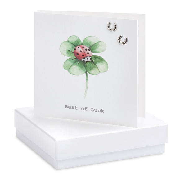Crumble and Core, Cards,  Allie Mae Living ,  Boxed Four Leaf Clover Earring Card - Allie Mae Living