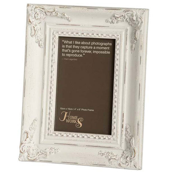 White Ornate Photo Frame 4x6 (6675086311584)
