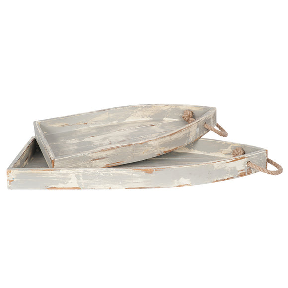 Allie Mae Living, Wall Plaques,  Allie Mae Living ,  Washed Wood & Rope S/2 Boat Shaped Trays - Allie Mae Living