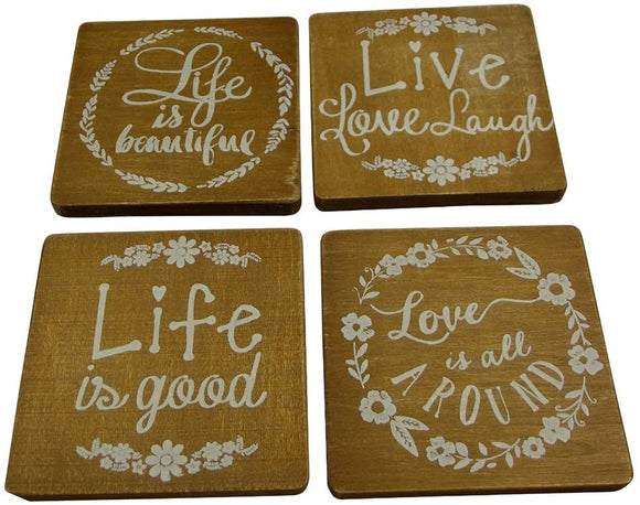 Live Love Life Wooden Coasters (Pack of 4)