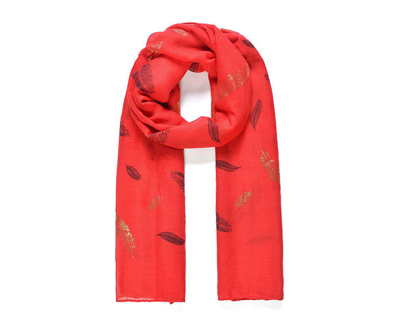 Red gold feather foil print scarf