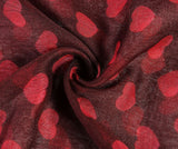 Deep red heart print scarf (5767941357728)