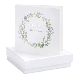 Crumble and Core, Cards,  Allie Mae Living ,  Boxed Lavender Wreath Earring Card - Allie Mae Living (4554891821152)