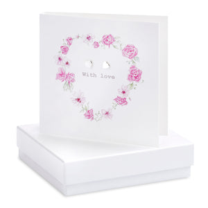 Crumble and Core, Cards,  Allie Mae Living ,  Boxed Floral Heart Earring Card - Allie Mae Living