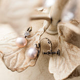 Clip On Pink Pearl Earrings