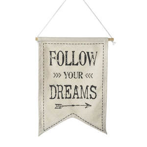 Heaven Sends, Wall Plaques,  Allie Mae Living ,  Follow Your Dreams Fabric Banner - Allie Mae Living