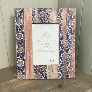 Navy Floral Photo Frame 5x7 (6675080151200)