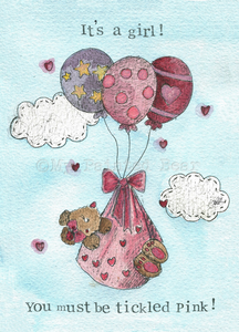 My Painted Bear, Cards,  Allie Mae Living ,  It's a Girl! - Card - Allie Mae Living