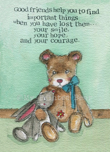 My Painted Bear, Cards,  Allie Mae Living ,  Good Friends - Card - Allie Mae Living