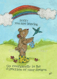 My Painted Bear, Cards,  Allie Mae Living ,  Leaving - Card - Allie Mae Living
