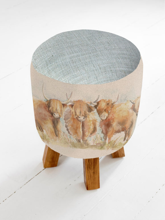 Voyage Maison, Stool,  Allie Mae Living ,  HIGHLAND CATTLE MONTY STOOL - Allie Mae Living