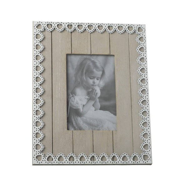 Wood And Lace Heart Finish Photo Frame (6x4) (5420118048928)