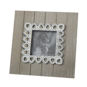 "Wood And Lace Heart Finish Photo Frame (3""x3"")"