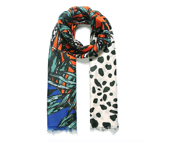 Blue/Orange Jungle Print Scarf