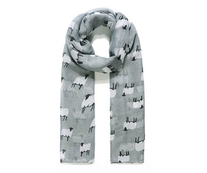 Grey Baa Baa Sheep Print Scarf