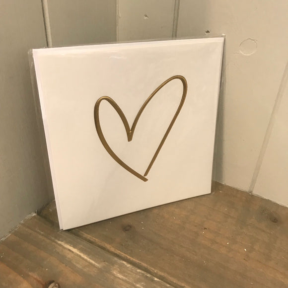 Gold Heart Blank Card