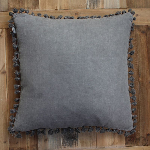 Grey Tassel Boarder Cushion 50x50 (5808545693856)