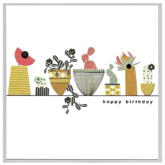 Cinnamon Aitch, Cards,  Allie Mae Living ,  Happy Birthday Flower Pots - Allie Mae Living