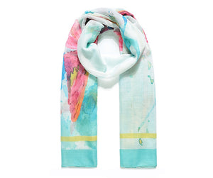 Green Watercolour Butterfly Print Scarf