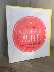 Wonderful Aunt Birthday Card
