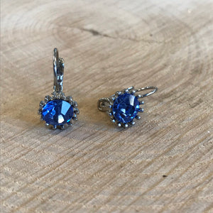 Blue Silver French Clip Earrings (5922565324960)