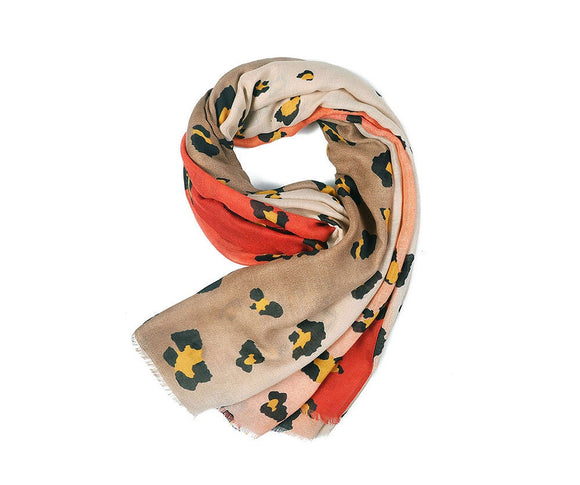 Tan/Red Leopard Print Scarf