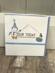 Four Today Birthday Card (Blue)