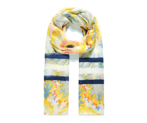 Yellow Morning Sunflower Print Scarf