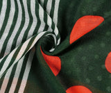 Green/Red/Orange Stripe & Spot Print Scarf