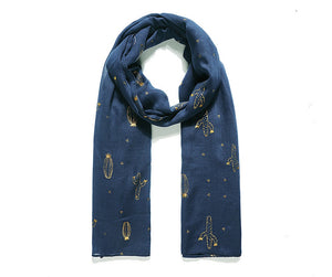 Navy Gold Foil Cactus Print Scarf