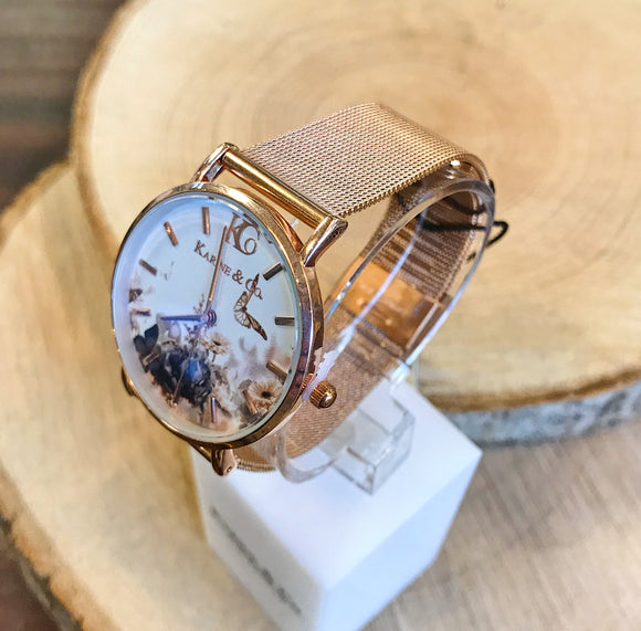 Floral Face Rose Gold Watch (5878762799264)