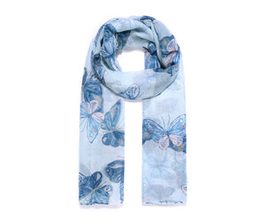 Blue Butterfly Dance Print Scarf