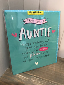 Crazy Lovely Auntie Birthday Card