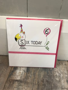 Six Today Birthday Card (Pink)
