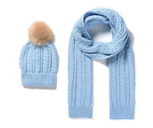 Knitted Scarf and Bobble Hat Set