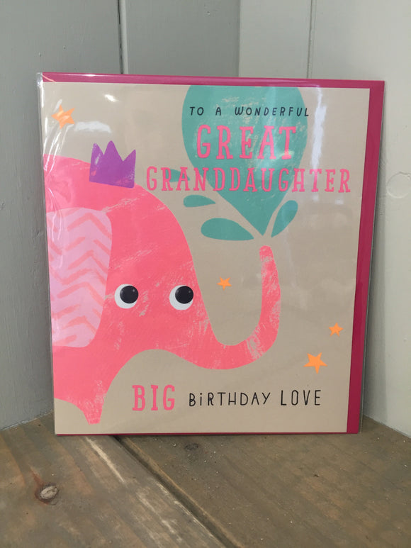 To a Wonderful Great Granddaughter Card
