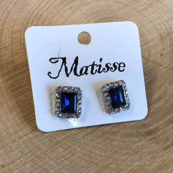 Silver and Sapphire Stud Earrings
