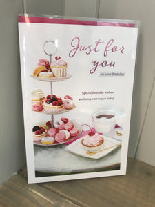 Just for you Birthday (Afternoon Tea) Card