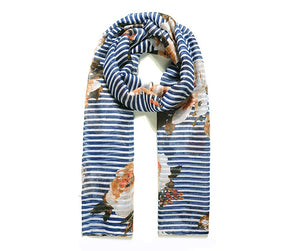 Blue Stripe Meadow Floral Print Scarf