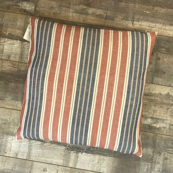 Multi Stripe Red Denim Cushion 50x50