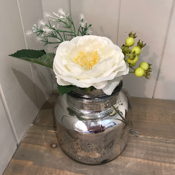 Mercury Glass Vase with Faux Flowers