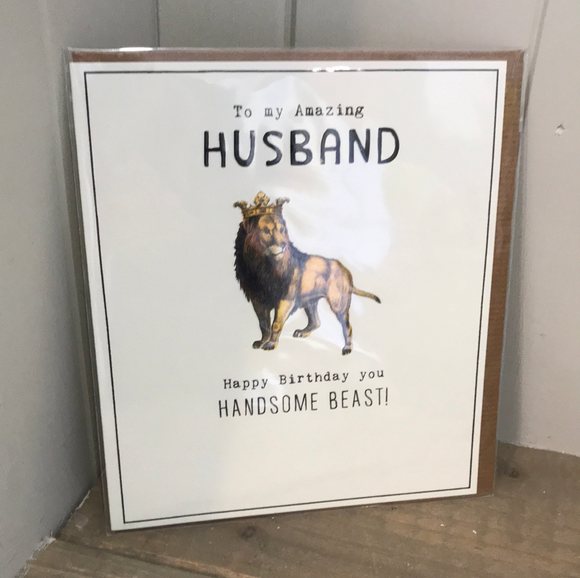 Handsome Beast Husband Birthday Card