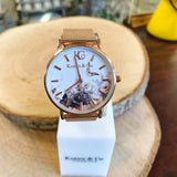 Sepia Floral Rose Gold Watch (5878762799264)
