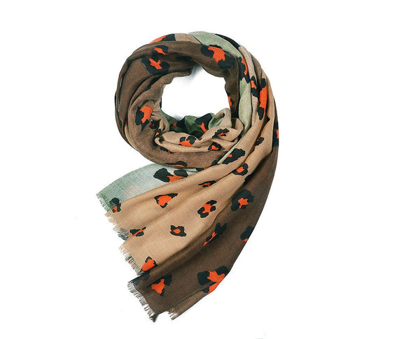 Brown/Green Leopard Print Scarf