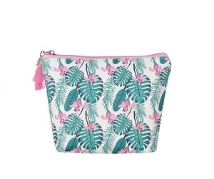 Green/Pink Palm Tree Large Makeup Bag
